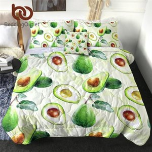 BeddingOutlet Avocado Quilt Blanket Twin Fruit Bedding Throws Vivid Bed Cover Set couette Green 4-Piece Bedspreads Dropship1