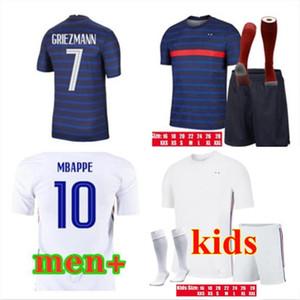 20/21 Dos estrellas Griezmann Mbappe Soccer Jerseys Pogba Camisa de fútbol de manga corta 2021 Maillot de Pie Men + Kit Kit Uniformes