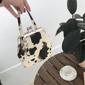 Cow Pattern Clip Women Handbags Designer Brand Lady Crossbody Bags Fashion Luxury PU Female Shoulder Messenger Bag Small Purses 201128