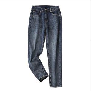 High Waist Frauen-Weinlese dünner beiläufiger wild Chic Boyfriend Stil Gerade Neun-Punkt-Jeans Weibliche Hosen 2020 Winter-