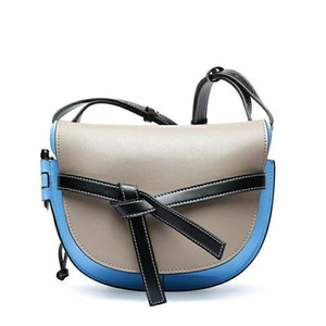 New top quality casual and simple women's color contrast leather bowknot messenger bag single shoulder bag handbag fashion women's bag
