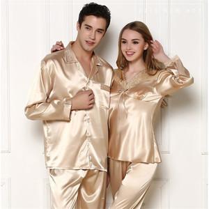Luxury Couples Pajamas Men Women Sexy Satin Silk Pajama Pants Sets Summer Long Sleeve Pyjama Home Suit Lovers Sleepwear