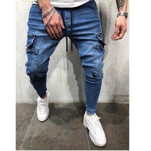 2020 Multi-pocket Rits Tooling Jeans Random Herbs Anti-wrinkles Locomotief Potlood Broek Fashion Streetwear Men