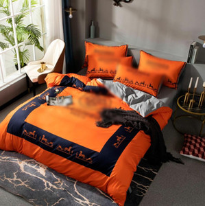 2021 orange designer bedding sets cover horse king size bed comforters sets cover queen size bedding set cotton duvet cover set