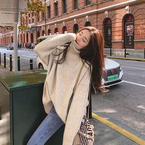 Nijiuding Mujeres sueltos Lazy Otoño Invierno Sujetadores gruesos Desgaste 2020 Nueva manga larga Turtlentck Camisa de punto Pullover Tops LJ201126