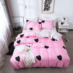 Женская одеяла набор набор 2 / 3шт Летние постельные принадлежности постельное белье с наволочками мягкое гладкое любовное сердце для девочек-близнец