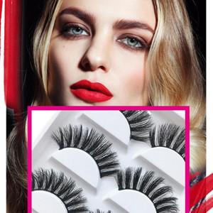 5Pairs 3D Natural Mink Eyelashes False Full Strip Lashes Natural Long Thick Crisscross Winged Soft Extension Eye Makeup Tool