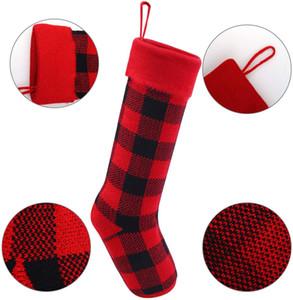 3 colors Knit Christmas Stockings Buffalo Check Christmas Stocking Plaid Xmas Socks Candy Gift Bag Indoor Christmas Decorations YYS3044