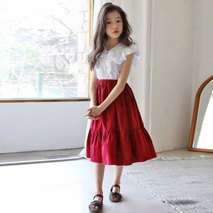 2020 Mid Long Red Blue Skirt For Girls Teenage Skirts Girl Kids Mother And Daughter Clothing Spring Summer Autumn School Clothes Y1201