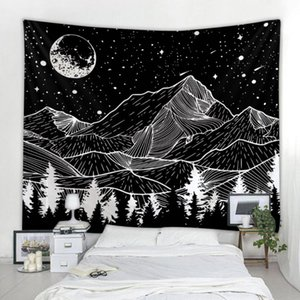 Mountains under the moonr printing big wall mounted cheap hippie wall hanging bohemian tapestry mandala art decoration