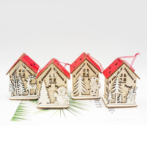 Cute Hanging Lighting 3D Mini Christmas Snow House Wooden Pendant Home Tree Decorations