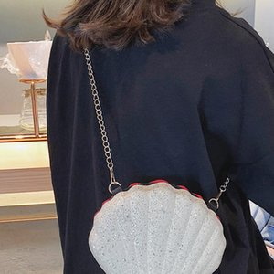 Women Crossbody Bag Bling Sequins Metal Shoulder Fashion Party Messenger Mini Casual Handbags Shell Shaped Zipper Closure