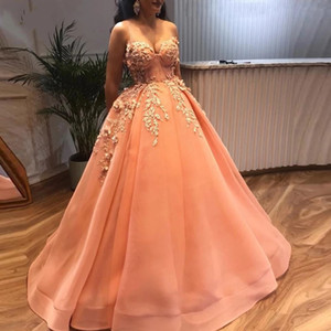Peach Ball Gown Prom Dresses With Lace Appliques 3d Flower Beaded Evening Gowns Spaghetti Straps Sexy Plus Size Formal Party Dress AL7880