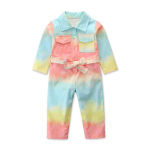 INS fashion girls jumpsuit long sleeve girls suspenders trousers casual kids jumpsuit kids  clothes girls rompers B2869