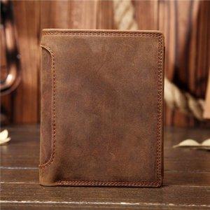 Portefeuille vertical en cuir authentique, portefeuille de cheval fou, couche de la tête, cowhide et portefeuille de l'étudiant de style ancien.