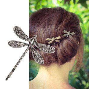 Ancient Vintage Silver Color Dragonfly Hairpin Insect Shape Headdress Style Hair Clip Wedding Hair Bridal Accessories Q1202