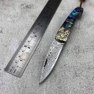 Cuchillo plegable de Damasco Cáscara de color 3d tallado mango de cobre adecuado para la colección diaria de la colección de herramientas de supervivencia de camping al aire libre