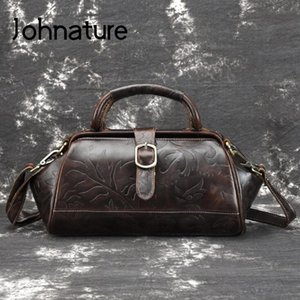 Johnature 2020 Nouveau Vintage En Cuir Véritable Floral Embossé Open Pocket Open Femmes Opondirhandbags Leisure Cowhide Messenger Sac C0121