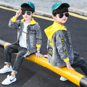 Korean Baby Boys Jeans Jackets Spring Children Denim Coats Cotton Letter Hooded Outerwear Clothes 8 To 12 Yrs Toddler Tops 201209