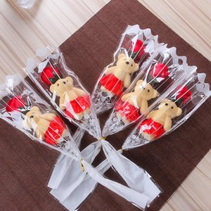 Single bear soap flower bear simulation artificial flower rose single rose for valentines day party single bouquet gift GWA3364