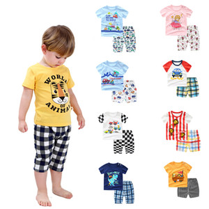kids clothes boys outfits children Animal print T-shirt+shorts 2pcs set 2021 summer fashion Boutique cartoon baby Clothing Sets Z0936