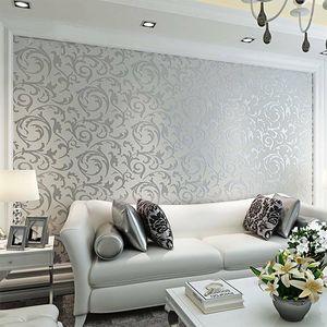 Plata 3D Victorian Damasco Papel pintado en relieve Rollo Decoración para el hogar Sala de estar Dormitorio Dormitorio Cubiertas de pared Plata Floral Lujo Papel de pared1