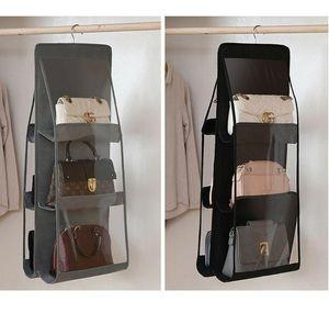 6 Pocket Folding Hanging Large Clear Handbag Purse Storage Holder Anti-dust Organize wmtsno dh_garden