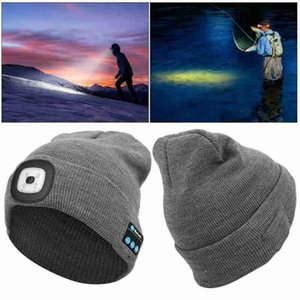 Winter Knitted Beanie With Earphone Bluetooth Led Light Luminous Outdoor Mountaineering Handfree Music Headphone Hat