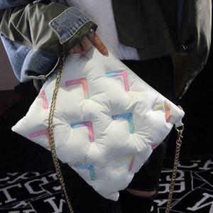 Мода подушка с хлопковой подушкой женщины Женщины Сумки на плечо Сумки дизайнерские Цепочки Crossbbody Сумка Космический прокладки Хлопок Большая емкости 2020
