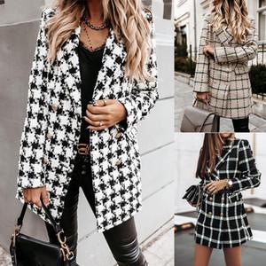 Kadınlar Moda Ekose Houndstooth Baskı Uzun Ceket Yaka Trençkot Palto Kış Yün Coat Women Abrigos mujer faux