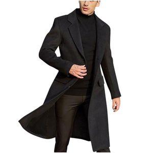 Men's British Style Solid Color Long Coat Fashionable Warm Woolen Overcoat Fashionable Gentleman Men's Jacket Men Clothing DAIGE