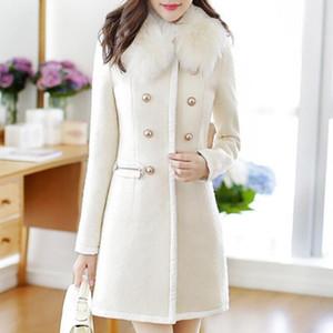 Womail Autumn Plus Size Women Coat Winter Warm Jacket Wool Lapel Windbreaker Coat Fashion Button Turn-down Collar Jacket FA