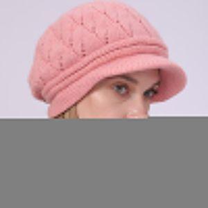 Unisex Women's European American Winter Plush Solid Beret Fashion Braided Autumn Winter Warm Beanie Knit Crochet Cap Peaked Cap