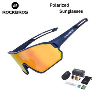 Lunettes de soleil polarisées Rockbros Cyclisme UV400 Protection en plein air Film coloré Sports Sun lunettes lunettes lunettes de lunettes Myopia Eyewear Vélo