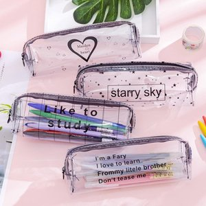 Transparent Letter Star Heart Pencil Case Large Capacity Pencil Box Storage Bag Stationery Gifts School Supplies Escolar1