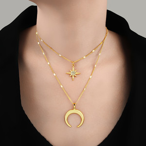 Gold Double Horn Layered Chain Necklace Crystal Star Crescent Moon Pendant Choker Necklace For Women Bohemia Boho Jewelry