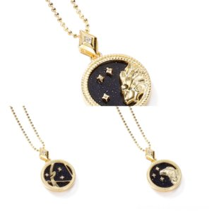 Oq2L4 Women America Style Twelve Constellations Jewelry Sets LadyHollow Metal Gold-color Out V Initials Garden Necklace boucheron