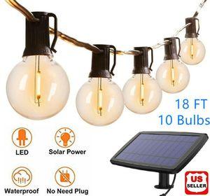G40 Solar Powered 18ft Outdoor Patio Globe String Lights Bistro Yard Decoration