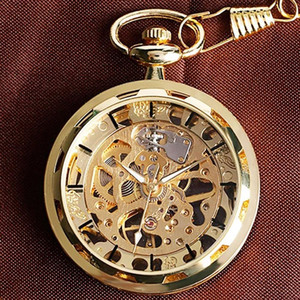 2020LinTimes Vintage Watch Necklace Hollow-out Pocket Watch Clock Pendant Hand-winding Fob Watch