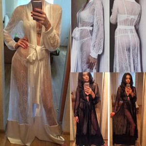 womens clothing Women Sexy Long Silk Kimono Dressing Gown Bath Robe Babydoll Lace Transparent Nightdress