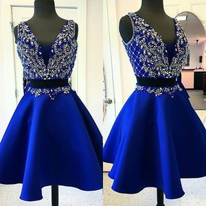 Navy Crystal Design Evening Dresses Luxury Bling Short Prom Gowns V Neck Sleeveless Ruched Satin Custom Made Pageant Formal Party Dress
