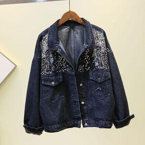 Harajuku Holes Sequined Denim Jacket Women 2020 Autumn New Loose Long Sleeve Casual Jeans Jackets Girls Students Cowboy Coat Top