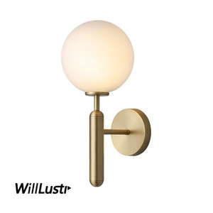 White Glass Globe Wall Sconce Lamp Aquatex Water wave Glass Light Copper Color Metal Porch Hotel Cafe Bedside Staircase Lighting