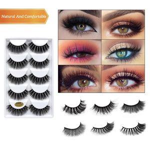 5Pairs 3D Mink Hair False Eyelashes Dramatic Volume Fake Lashes Makeup Natural Long Eye Lashes Extension Beauty Wispy eyelashes