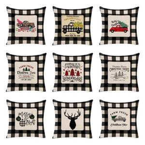 Black White Check Pillowcase Christmas Decoration Pillow Cover Linen Sofa Throw Pillow Cases Pillow Bedroom Upholstery Cushion OWB3045