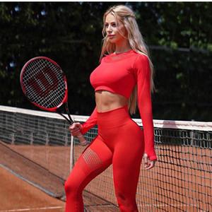 Outfits Yoga 2021 Бесшовные Набор Спортивные Женщины 2 Шт. Полый дышащий Длинный рукав Урожай Верхние Леггинсы Тренировки Тренажерный зал Костюм Фитнес-Наборы