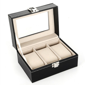 3 Grid Black PU& Wooden Wrist Watch Display Box Jewelry Storage Holder Organizer Case with Window Wholesale NWB3512