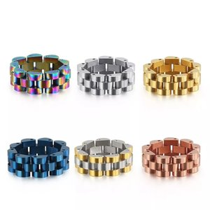 Luxury Rose Gold Blue Strap Ring Men 316L Stainless Steel Womens Watch Chain Rings Jewelry Fashion 8MM Wide Finger Band Dropship