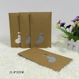 Brown Kraft Paper Socks Boxes Retail Gift Packaging Garment Clothing Socks Stocking Storage Bag