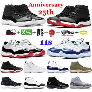 Novo 25º aniversário 11 sapatos de basquete 11s jumpman com caixa baixa raquete concord 45 espaço ginásio ginásio vermelho homens mulheres correndo tênis treinadores